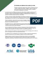 La Docencia de Córdoba en Defensa de La Salud y La Vida