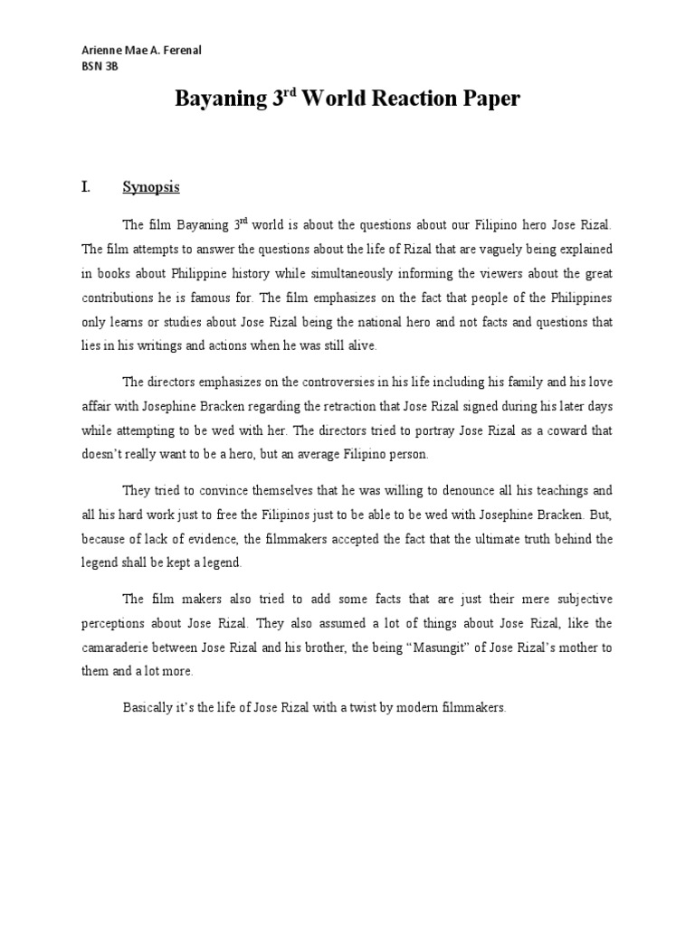 reaction paper indictment of rizal s case Reaction paper to rizal reaction paper in the movie jose rizal the movie tells the life story of jose rizal, the national hero of the philippines.