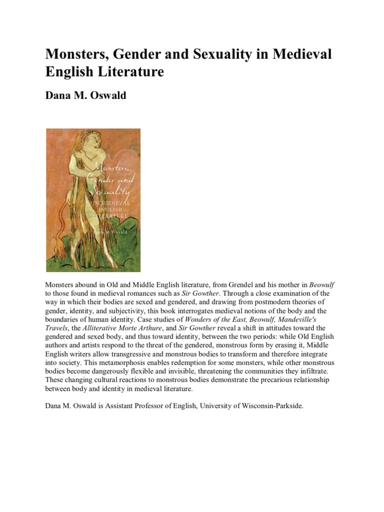 Monsters Gender And Sexuality In Medieval English Literature
