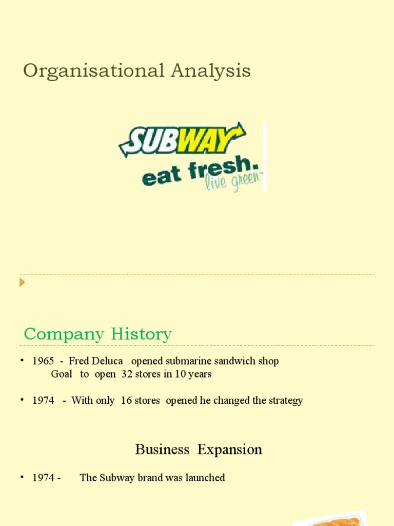 marketing case analysis subway The sandwich chain has more than 40,000 locations, compared with mcdonald's 35,000 and while mcdonald's is struggling with lagging sales, subway is plotting an ambitious expansion to 100,000 restaurants by 2030 here are a few reasons subway has become ubiquitous easy access subway restaurants.