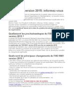 les principaux changements de l_ISO 9001 version 2015