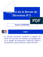 Rapport de la revue de direction N°3 2021 LABO EST