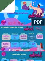 Calendario  PDT actividades desde el 17 al 30 de abril