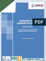 Baseline study summary of results - SALOHI Program (USAID, CRS, ADRA, CARE, Land O'Lakes - 2009)
