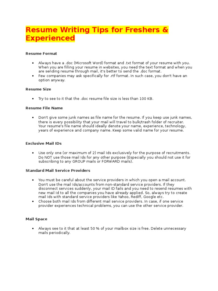 17312664 Resume Writing Tips For Freshers Resume Mail