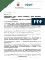 Ordinanza Presidente PAT n. 74 del 31 Maggio 2021