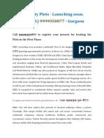 Ireo City Plots Gurgaon- Launching Soon. Call 9999950877
