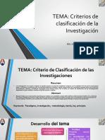 Criterios de Clasificacion de Investigacion