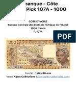 Billet de banque - Côte d'Ivoire - Pick 107A - 1000 francs