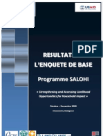 Résultats de l'enquête de base - Programme SALOHI (USAID, CRS, CARE, ADRA, Land'O'Lakes/2009)