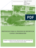 Protocolo reporte de cupos e informacion en SIGE