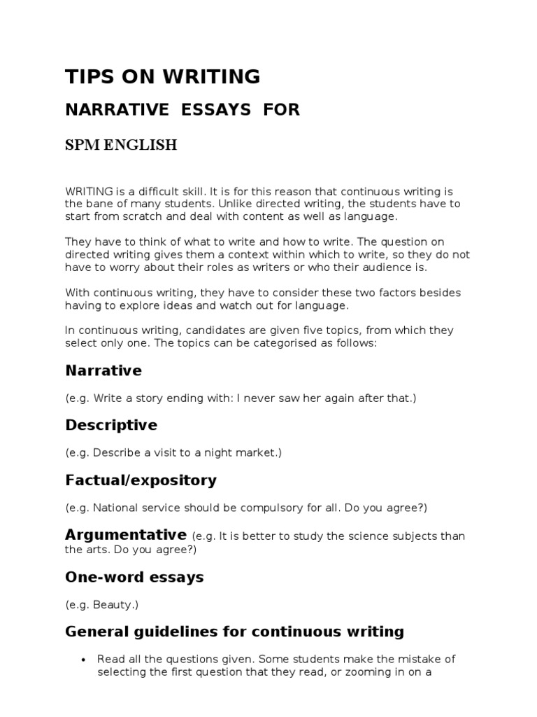 tips on writing spm narrative essays essays narration