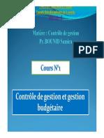 S6 cours n°1 Contrôle de gestion et gestion budgétaire