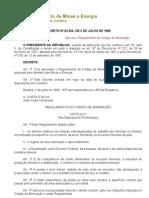 REGULAMENTO DO CODIGO DE MINERACAO - DECRETO N 62.934, DE