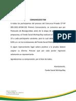 Comunicado FSM CP Nº 005-2021-AFSM-CEE