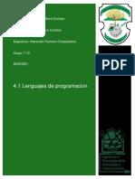 4.1 Lenguajes de Programación