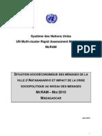 McRAM I :Situation socioéconomique des ménages de la ville d'Antananarivo et impact de la crise sociopolitique au niveau des ménages – MAI 2010 (SNU - 2010)