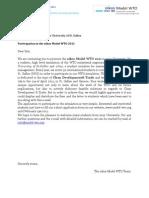 oikos Model WTO - Letter for universities