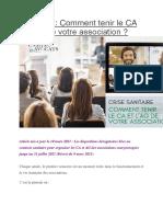 Droit Des Associations CA Et AG PENDANT COVID 19