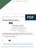 Modalverben in subjektiver Bedeutung - Gebrauch, Formen und Beispiele