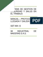 SST-MA-12 PROTOCOLO DE LLEGADA Y SALIDA EN IM