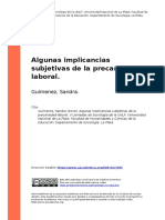 Guimenez, Sandra (2010). Algunas Implicancias Subjetivas de La Precariedad Laboral