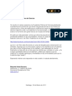 Carta enviada a la Academia Chilena de Ciencias