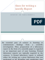Course 3 Guidelines for Writing a Scientific Report