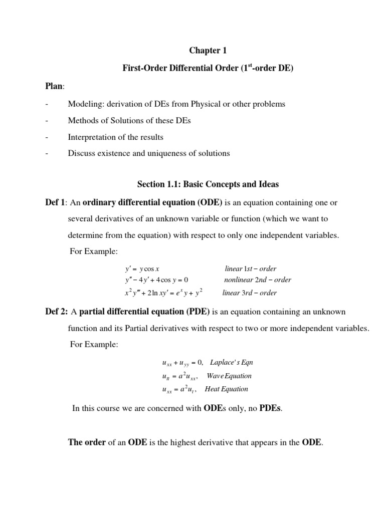 First Order Differential Equations | Differential Equations