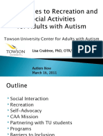 Towson University's Center for Adults with Autism Webinar with Autism NOW March 17, 2011