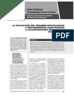 9- La aplicación del régimen disciplinario y procedimiento sancionador a colaboradores de locación de servicios