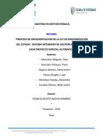 """""""PROCESO DE IMPLEMENTACION DE LA LEY DE MODERNIZACION DEL ESTADO - SISTEMA INTEGRADO DE GESTIÓN INTITUCIONAL  (SIGI) GOBIERNO REGIONAL DE SAN MARTIN""""OK"""