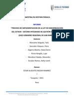 PROCESO DE IMPLEMENTACION DE LA LEY DE MODERNIZACION DEL ESTADO - SISTEMA INTEGRADO DE GESTIÓN INTITUCIONAL  (SIGI) GOBIERNO REGIONAL DE SAN MARTIN
