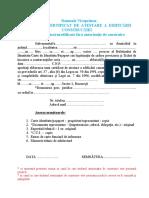 Cerere Pentru Certificat de Atestare a Edificarii Constructiei - Art.37 Din Legea Nr.50-1991