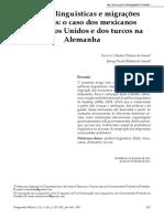 Políticas Linguísticas e Migrações Massivas o Caso Dos Mexicanos Nos Estados Unidos e Dos Turcos