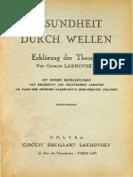 Gesundheit Durch Wellen- Georges Lakhovsky 1925