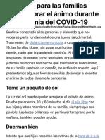 Consejos para las familias para mejorar el ánimo durante la pandemia del COVID-19 - HealthyChildren.