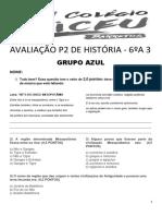 Avaliação p2 de História - 6ºa3 - Azul