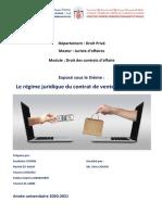 Régime juridique du contrat de vente électronique (Final)