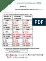 CORREÇÃO ficha de gramática pronomes e discurso direto e indireto