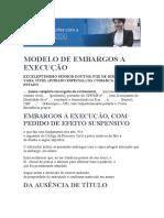 MODELO DE EMBARGOS A EXECUÇÃO