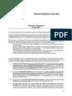 Fête de La Musique 2021 - Protocole Sanitaire