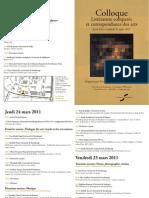 Colloque Correspondances des Arts - Université de Strasbourg