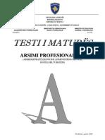 Testi A, Drejtimi Profesional III, Gusht 2009