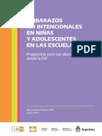 Embarazos No Intencionales en Ninas y Adolescentes en Las Escuelas