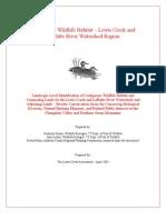 Contiguous Wildlife Habitat Report, Lewis Creek, Little Otter & LaPlatte River (Royar, Austin 2003)