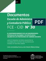 El Desfinanciamiento de Las Universidades Estatales en Colombia y Su Efecto en El Salario de Los Profesores de Carrera Docente - Quimbay y Villabona (2017)
