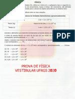 Prova de Física UFRGS 2020