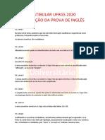 Prova de Inglês UFRGS 2020