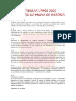 Prova de História UFRGS 2020